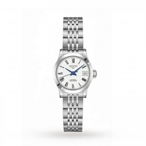 longines record dames wit 26mm horloge