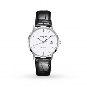 longines elegant heren wit 39mm horloge