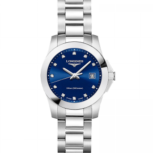 longines conquest dames blauw 30mm horloge