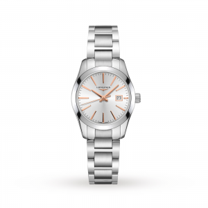 longines conquest dames zilver 30mm horloge