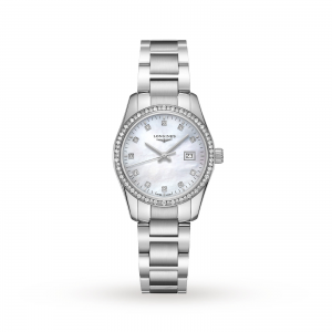 longines conquest dames parelmoer 30mm horloge