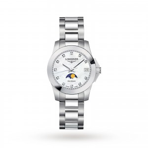 longines conquest dames parelmoer horloge 29.5mm