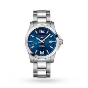 longines conquest heren blauw 41mm horloge