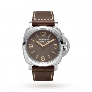panerai luminor heren bruin 47mm horloge