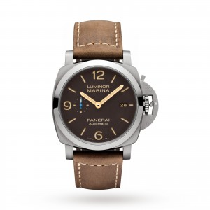 panerai luminor heren bruin 44mm horloge